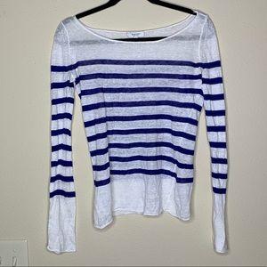 Aritzia babaton linen white and blue stripe top